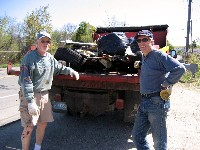 Cal, Steve & a pickup load of trash