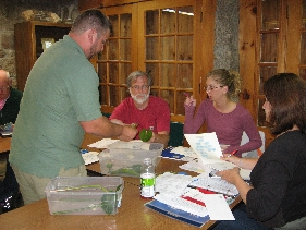 Board Members Mike Sperry,Tamara Heiselmeyer,Michelle Walsh identifying aquatic plants