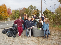 Cleanup volunteers from Assumption School
