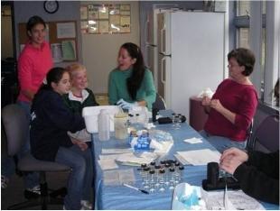 Volunteers in the lab