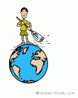 earth day-person sweeping off earth